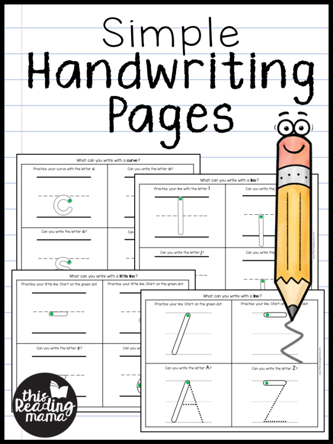 Simple Handwriting Pages - This Reading Mama