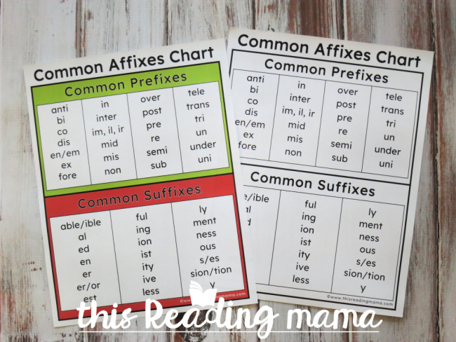 common affixes chart - comes in color and blackline