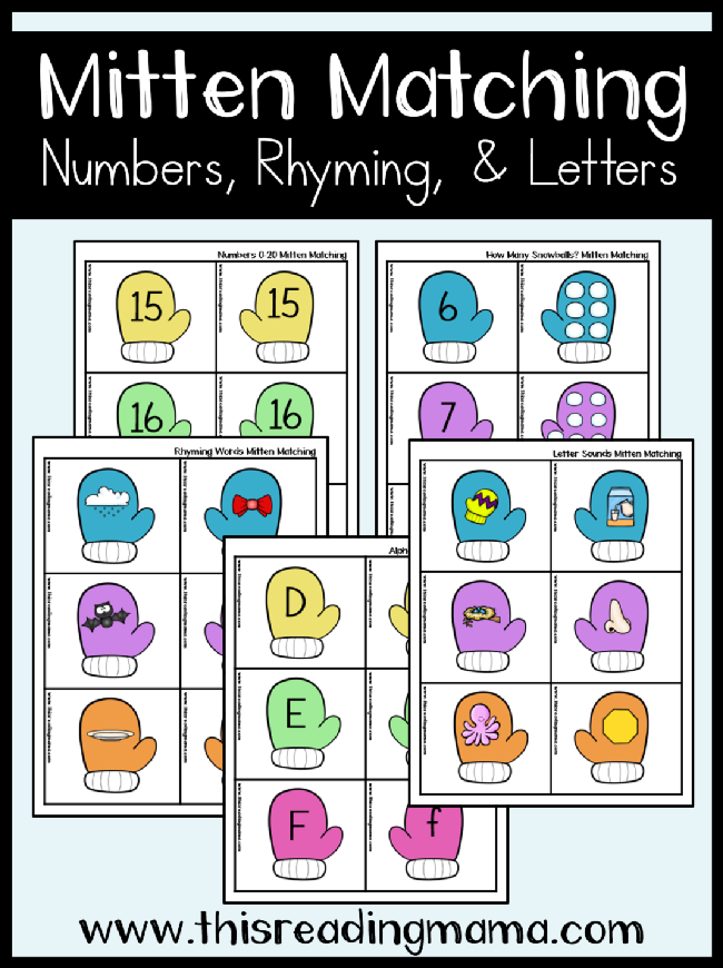 Mitten Matching Printable Pack - for early literacy and math skills - This Reading Mama