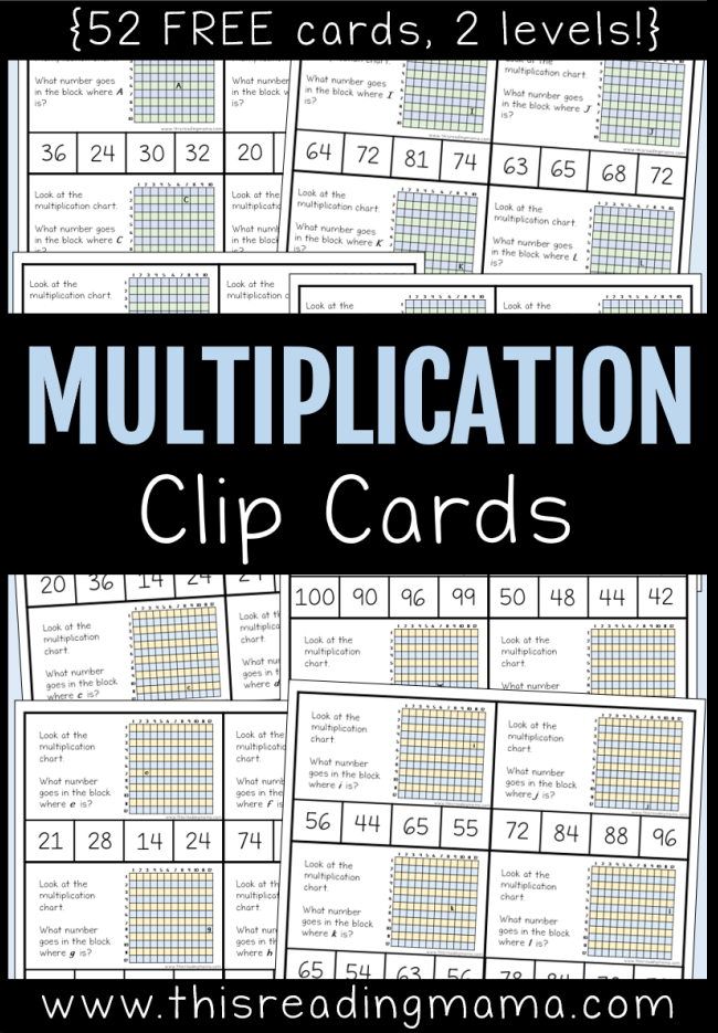 Multiplication Clip Cards - 52 free cards in 2 different levels This Reading Mama