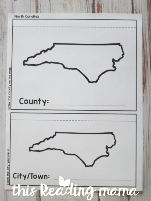 Geography flip book - state page sample