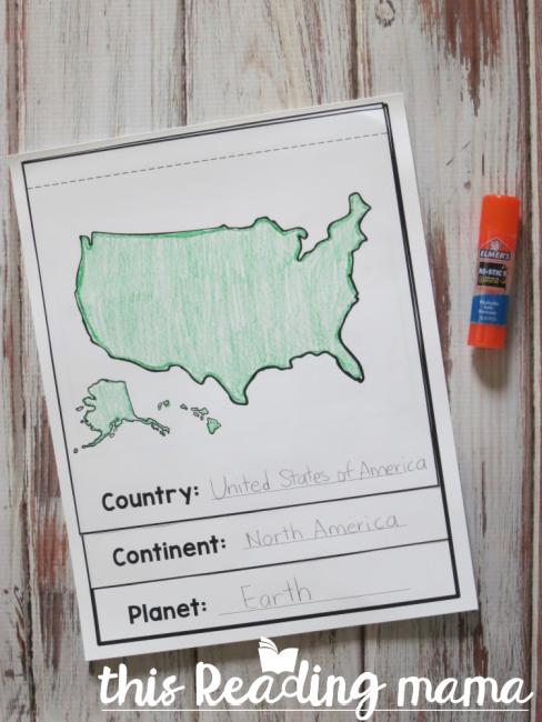 Glue geography flip book together