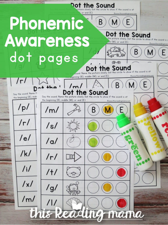 Phonemic Awareness Dot Pages - This Reading Mama