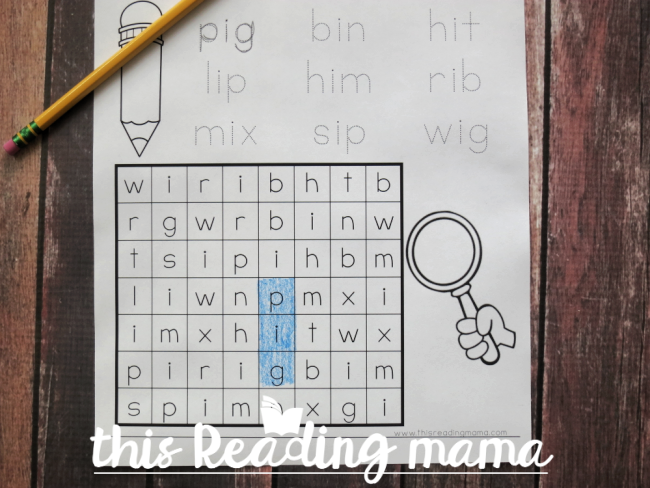 Phonics Word Search Puzzle - find the word in the word search