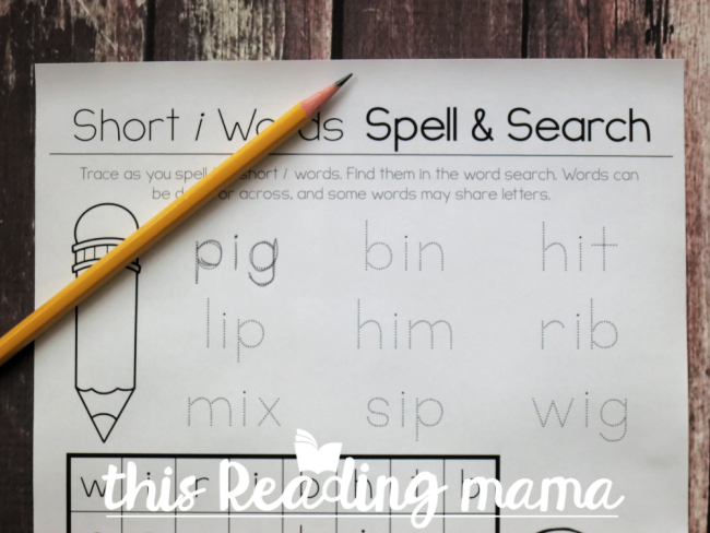 Phonics Word Search Puzzle - trace and sound out the words first