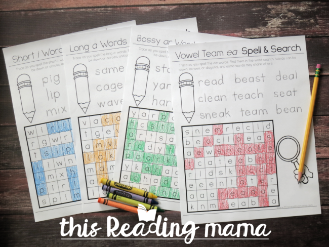 Phonics Word Search Puzzles - subscriber freebie from This Reading Mama