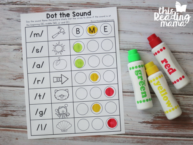 dot the beginning, middle, or ending phoneme