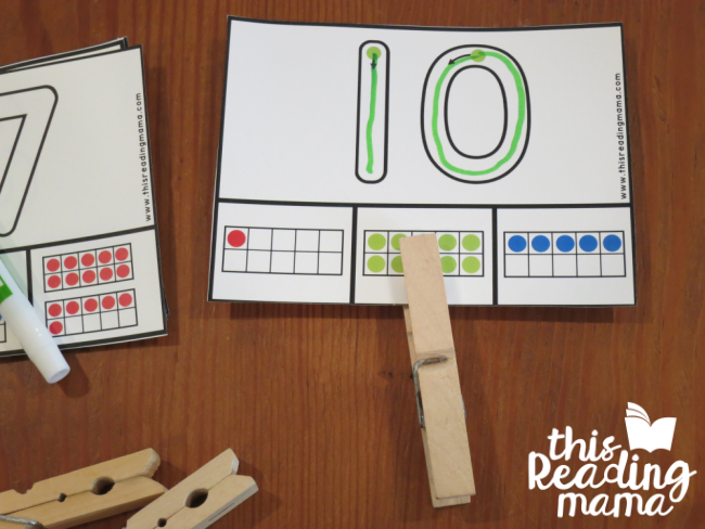 Ten Frame Clip Cards - trace then numbers then clip the cards