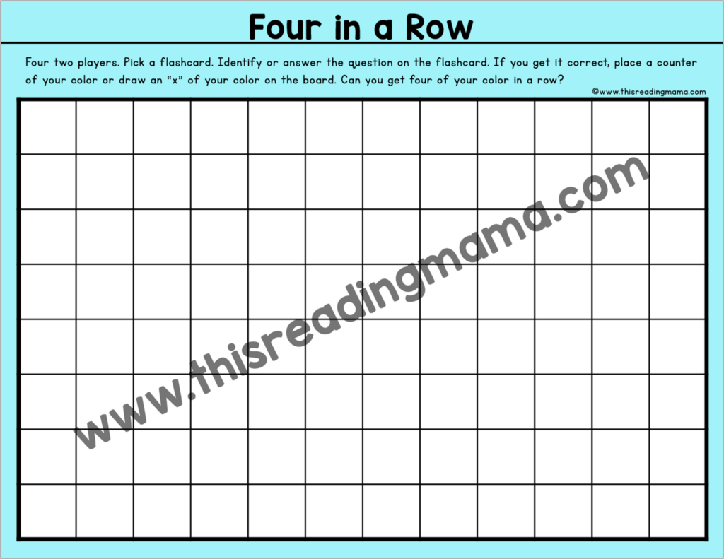 Four in a Row Flashcard Games - This Reading Mama