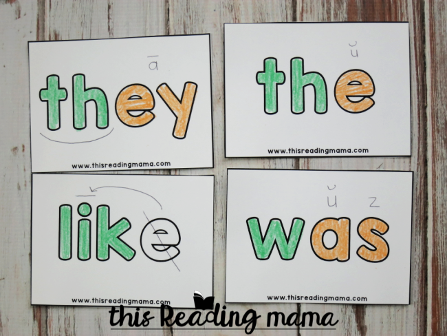 Orthographic Mapping Sight Word Cards Examples - This Reading Mama