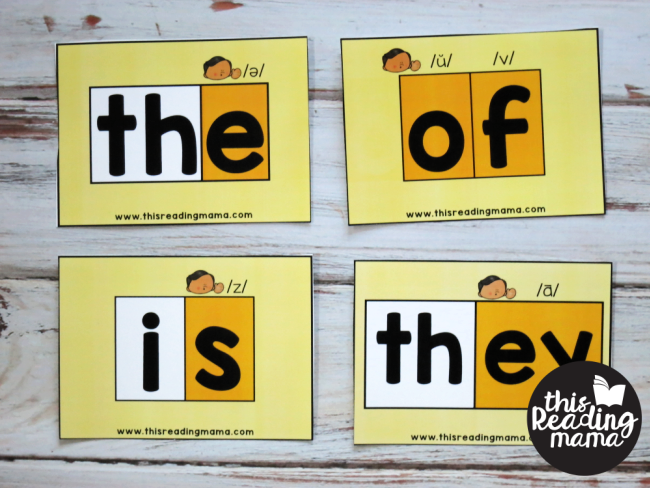 Sight Word Orthographic Mapping Cards - words with unexpected letter sounds