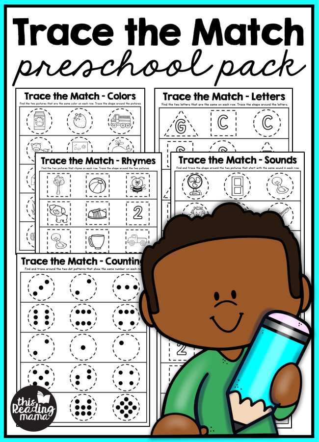 Trace the Match Preschool Pack - This Reading Mama